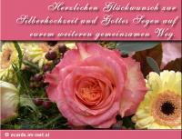 Herzlichen Glückwunsch zur Silberhochzeit und Gottes Segen auf eurem weiteren gemeinsamenen Weg.
