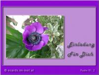 Einladung für Dich Psalm 81,2 Singt fröhlich Gott, der unsere Stärke ist, jauchzt dem Gott Jakobs!