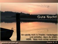 Gute Nacht! Psalm 4,9 Ich werde mich in Frieden niederlegen und schlafen; denn du allein, HERR, lässt mich sicher wohnen.