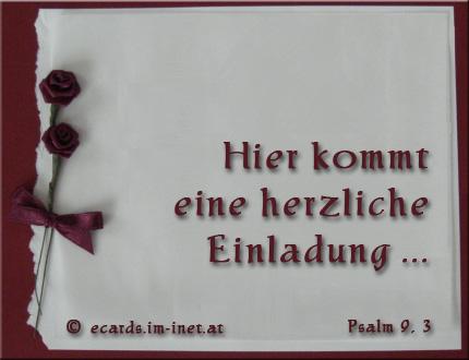Dieses Bild Verschicken · Hier Kommt Eine Herzliche Einladung ... Psalm 9,3  Ich Will Mich Freuen