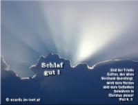 Schlaf gut! Philipper 4,7 Und der Friede Gottes, der allen Verstand übersteigt, wird eure Herzen und eure Gedanken bewahren in Christus Jesus!