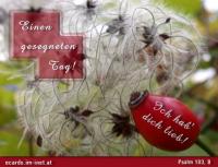Einen gesegneten Tag! Ich hab' dich lieb! Psalm 103,8 Barmherzig und gnädig ist der HERR, geduldig und von großer Güte.
