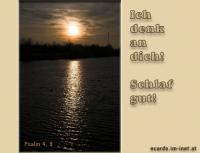 Ich denk' an dich! Schlaf gut! Psalm 4,9 Ich werde mich in Frieden niederlegen und schlafen; denn du allein, HERR, lässt mich sicher wohnen.