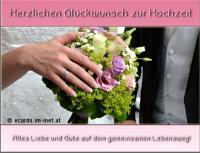 Herzlichen Glückwunsch zur Hochzeit. Alles Liebe und Gute auf dem gemeinsamen Lebensweg.