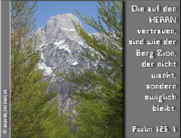 Psalm 125,1 Die auf den HERRN vertrauen, sind wie der Berg Zion, der nicht wankt, sondern ewiglich bleibt.