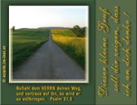 Dieser kleine Gruß soll dir zeigen, dass ich an dich denke! Psalm 37,5 Befiehl dem HERRN deinen Weg, und vertraue auf ihn, so wird er es vollbringen.
