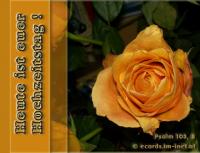 Heute ist euer Hochzeitstag! Psalm 103,8 Barmherzig und gnädig ist der HERR, geduldig und von großer Güte.