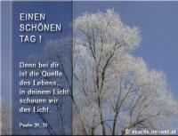 Einen schönen Tag! Psalm 36,10 Denn bei dir ist die Quelle des Lebens, in deinem Licht schauen wir das Licht.