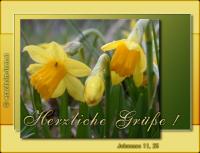 Herzliche Grüße! Johannes 11, 25 Jesus spricht: Ich bin die Auferstehung und das Leben. Wer an mich glaubt, wird leben, auch wenn er stirbt.